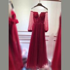 包肩长袖款新娘结婚敬酒服晚宴礼服2010830302-36 图片色 均码