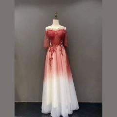 一字肩新娘结婚敬酒服晚宴礼服户外拍照礼服2010210305-7 图片色 均码
