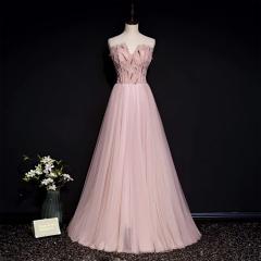 影楼工作室拍照款粉色抹胸款随身礼服W2010210406-28 图片色 均码
