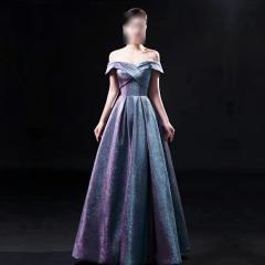 影楼工作室拍照款一字肩随身礼服W2010620408-04 图片色 均码