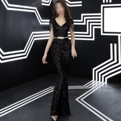 影楼工作室拍照款V领包肩随身礼服W2010620408-07 图片色 S