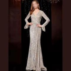 影楼工作室拍照款V领长袖高端随身礼服W2010620409-08 图片色 S