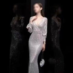 影楼工作室拍照款带袖V领高端随身礼服W2010620409-13 银色 M