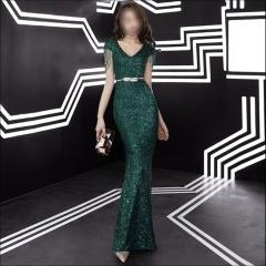 影楼工作室拍照款包肩V领高端随身礼服W2010620409-14 图片色 XL