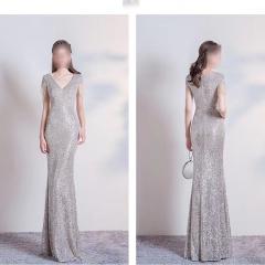 影楼工作室拍照款V领包肩高端随身礼服W2010620409-16 图片色 S