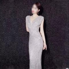 影楼工作室拍照双肩露背高端随身礼服W2010620409-17 图片色 L