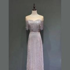 影楼工作室拍照包肩显瘦高端随身礼服W2010620409-18 图片色 XL