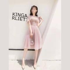 影楼工作室拍照中长款显瘦V领高端礼服W2010620409-19 图片色 S