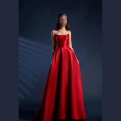 影楼工作室拍照显瘦双肩带敬酒服高端礼服W2010790409-22 图片色 均码