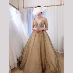 影楼工作室拍照双肩带绑带款高端晚宴礼服W2010790409-24 图片色 均码