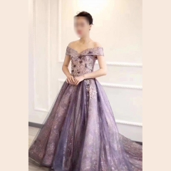影楼工作室拍照一字肩紫色高端晚宴礼服W2010790409-30 图片色 均码