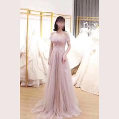 影楼工作室拍照一字肩显瘦高端晚宴礼服W2010790409-34 图片色 均码