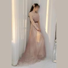 影楼工作室拍照长袖高领显瘦高端晚宴礼服W2010790409-36 图片色 均码