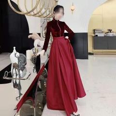 影楼工作室新娘结婚长袖高领高端敬酒礼服W2010020409-52 图片色 均码