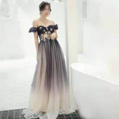 影楼工作室拍照一字肩高端晚宴礼服W2010790409-54 图片色 均码