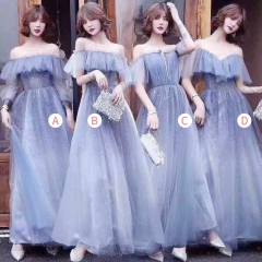 姐妹装婚礼伴娘团伴娘服长款礼服绑带款W201088041001 图片色 四件套(1组)