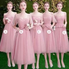 姐妹装婚礼伴娘团伴娘服中长款礼服绑带W201088041004 图片色 五件套(1组)