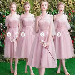 姐妹装婚礼伴娘团伴娘服中长款礼服绑带W201088041005 图片色 四件套(1组)