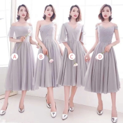 婚礼伴娘服姐妹装姐妹团伴娘服短款礼服绑带W201088041008 图片色 B(单件)