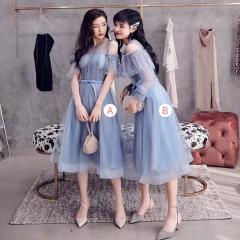 婚礼伴娘服姐妹装姐妹团伴娘服中长款礼服绑带W201088041009 图片色 四件套(1组)