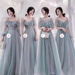婚礼伴娘服姐妹装姐妹团伴娘服长款礼服绑带W201088041010 图片色 C(单件)