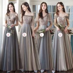 婚礼伴娘服姐妹装姐妹团伴娘服长款礼服绑带W201088041011 图片色 D(单件)