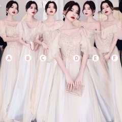 婚礼伴娘服姐妹装姐妹团伴娘服长款礼服绑带W201088041013 图片色 D(单件)