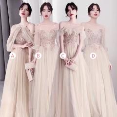 婚礼伴娘服姐妹装姐妹团伴娘服长款礼服绑带W201088041016 图片色 A(单件)