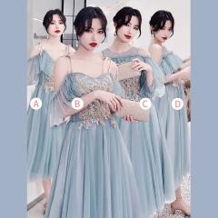 婚礼伴娘服姐妹装姐妹团伴娘服中长款礼服绑带W201088041017 图片色 四件套(1组)