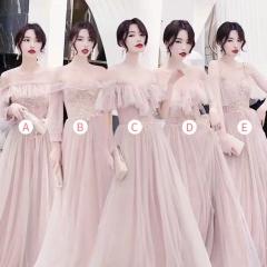 婚礼伴娘服姐妹装姐妹团伴娘服长款礼服绑带W201088041018 图片色 E(单件)