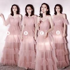 婚礼伴娘服姐妹装姐妹团伴娘服长款礼服绑带W201088041020 图片色 C(单件)