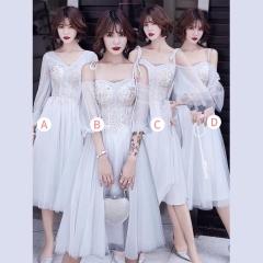 婚礼伴娘服姐妹装姐妹团伴娘服中长款礼服绑带W201088041021 图片色 D(单件)