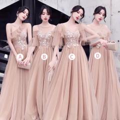 婚礼伴娘服姐妹装姐妹团伴娘服长款礼服绑带W201088041022 图片色 D(单件)