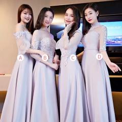 婚礼伴娘服姐妹装姐妹团伴娘服长款礼服绑带W201088041023 图片色 C(单件)