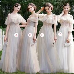 婚礼伴娘服姐妹装姐妹团伴娘服长款礼服绑带W201088041024 图片色 四件套(1组)
