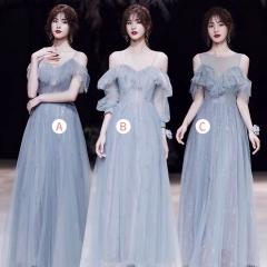 婚礼伴娘服姐妹装姐妹团伴娘服长款礼服绑带W201088041025 图片色 三件套(1组)