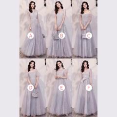 婚礼伴娘服姐妹装姐妹团伴娘服长款礼服绑带W201088041027 图片色 C(单件)