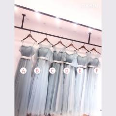 婚礼伴娘服姐妹装姐妹团伴娘服长款礼服绑带W201088041029 图片色 A(单件)