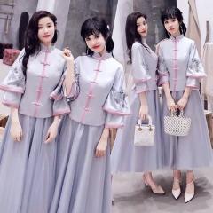 中式伴娘服姐妹装姐妹团伴娘服中长款礼服绑带W201088041030 图片色 四件套(1组)