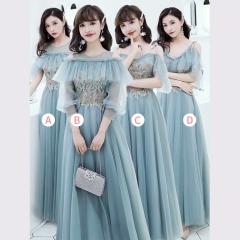 婚礼伴娘服姐妹装姐妹团伴娘服长款礼服绑带W201088041031 图片色 A(单件)