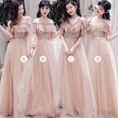 婚礼伴娘服姐妹装姐妹团伴娘服长款礼服绑带W201088041032 图片色 D(单件)
