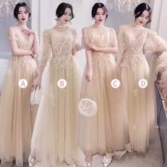 伴娘服姐妹装姐妹团伴娘服长款礼服绑带W201088041035 图片色 四件套(1组)