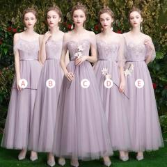 伴娘服姐妹装姐妹团伴娘服长款礼服绑带W201088041036 图片色 五件套(1组)