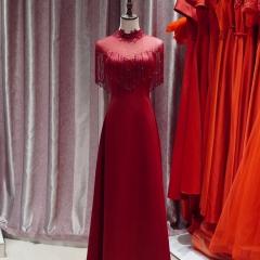工作室礼服馆新娘嫁衣敬酒服包肩高领拉链款W2010620514-05 图片色 均码