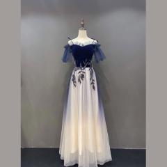 一字肩彩色纱袖款随身晚会礼服影楼拍照礼服W2011311123-48 图片色 均码