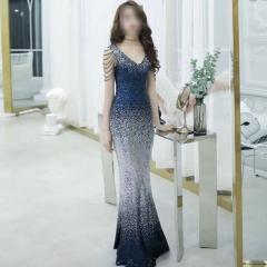 双肩V领款鱼尾腰彩色晚礼服影楼拍照礼服W2011061127-11 渐变蓝 均码