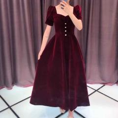 酒红色半袖新娘结婚当天嫁衣敬酒服W2010831226-1 图片色 均码