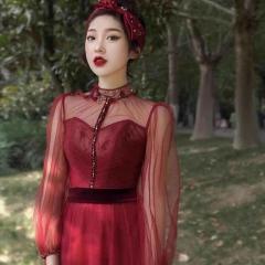 酒红色长纱袖新娘结婚当天嫁衣敬酒服W2010831226-5 图片色 均码
