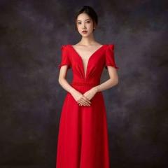 红色半袖新娘结婚当天嫁衣敬酒服W2010831226-6 图片色 均码