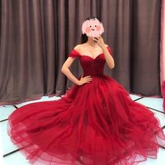 酒红色一字肩新娘结婚当天嫁衣敬酒服W2010830108-1 图片色 均码